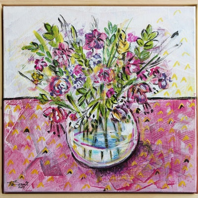 (CreativeWork) Vase of happiness  by Mirsai _18. acrylic-painting. Shop online at Bluethumb.