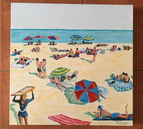 (CreativeWork) Retro Beach Scene by Robyn Gray. Acrylic Paint. Shop online at Bluethumb.