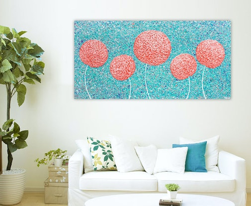 (CreativeWork) Flowers Landscape - Salmon Pink Textured Abstract by Miranda Lloyd. Mixed Media. Shop online at Bluethumb.
