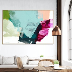 (CreativeWork) Spice - very large blue pink green abstract by Stephanie Laine. acrylic-painting. Shop online at Bluethumb.