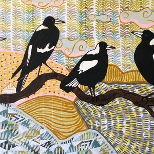 (CreativeWork) Country Magpies  by Sally Dunbar. mixed-media. Shop online at Bluethumb.