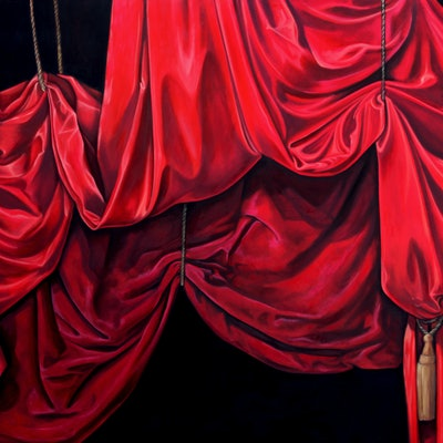 (CreativeWork) Tableau for a tragedy by Caroline Esbenshade. oil-painting. Shop online at Bluethumb.
