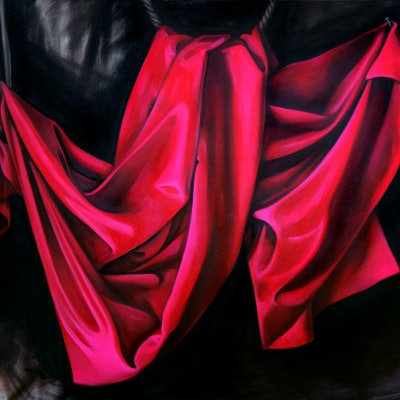 (CreativeWork) Stage for a meeting of lovers by Caroline Esbenshade. oil-painting. Shop online at Bluethumb.