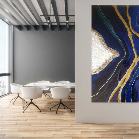 (CreativeWork) Golden seams beneath the deep blue by Renee winfield. Mixed Media. Shop online at Bluethumb.