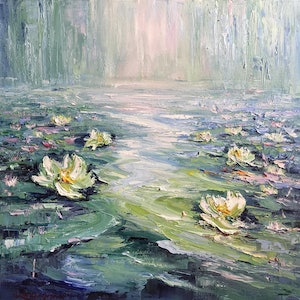(CreativeWork) Water lilies No 9 by Liliana Gigovic. #<Filter:0x00007f0829034930>. Shop online at Bluethumb.