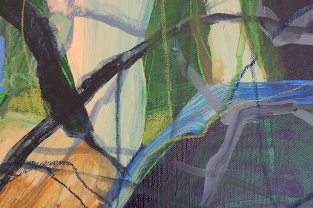 (CreativeWork) A Walk in the Woods by Kate Owen. Acrylic Paint. Shop online at Bluethumb.