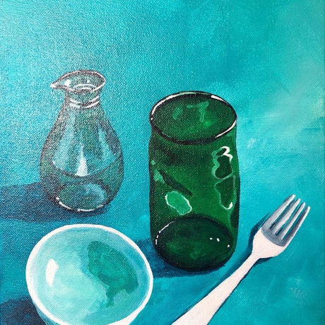 (CreativeWork) Turquoise Bowl and Glass by Annabelle Brockman. Acrylic Paint. Shop online at Bluethumb.