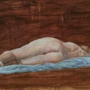 (CreativeWork) Reclining female nude by Adela Vojnovic. oil-painting. Shop online at Bluethumb.