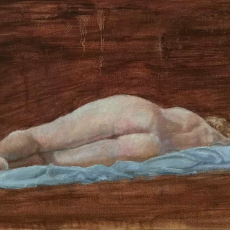 (CreativeWork) Reclining female nude by Adela Vojnovic. Oil Paint. Shop online at Bluethumb.
