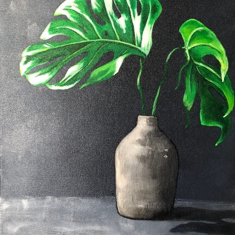 (CreativeWork) Monstera by Annabelle Brockman. Acrylic Paint. Shop online at Bluethumb.
