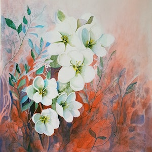 (CreativeWork) The Noble Magnolia by Lucinda Leveille. watercolour. Shop online at Bluethumb.
