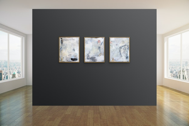 (CreativeWork) Oceans Away - Triptych by Nicole Fearfield. #<Filter:0x00007f7b70e77e10>. Shop online at Bluethumb.