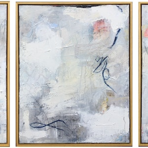 (CreativeWork) Oceans Away - Triptych by Nicole Fearfield. mixed-media. Shop online at Bluethumb.