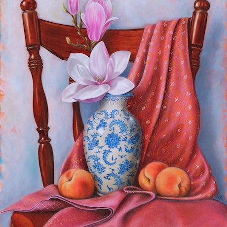 (CreativeWork) Thai sarong with magnolia and peaches - Still life by Natasha Junmanee. Oil Paint. Shop online at Bluethumb.