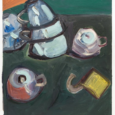 (CreativeWork) Cups and a Padlock by Karima Baadilla. oil-painting. Shop online at Bluethumb.
