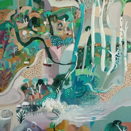 (CreativeWork) Abstract Landscape - The Island (sale price) by Susan Trudinger. Acrylic Paint. Shop online at Bluethumb.
