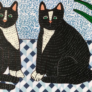 (CreativeWork) Twin Cats by Sally Dunbar. mixed-media. Shop online at Bluethumb.