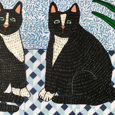 (CreativeWork) Twin Cats by Sally Dunbar. #<Filter:0x00007f08682f3628>. Shop online at Bluethumb.