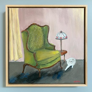(CreativeWork) Tully & the Rickety Armchair (framed) by Eve Sellars. #<Filter:0x000055c6e462d5d0>. Shop online at Bluethumb.