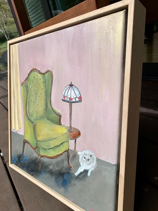 (CreativeWork) Tully & the Rickety Armchair (framed) by Eve Sellars. Oil Paint. Shop online at Bluethumb.