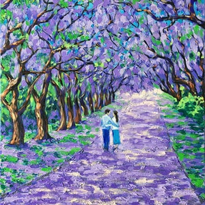 (CreativeWork) Jacaranda alley by Irina Redine. oil-painting. Shop online at Bluethumb.