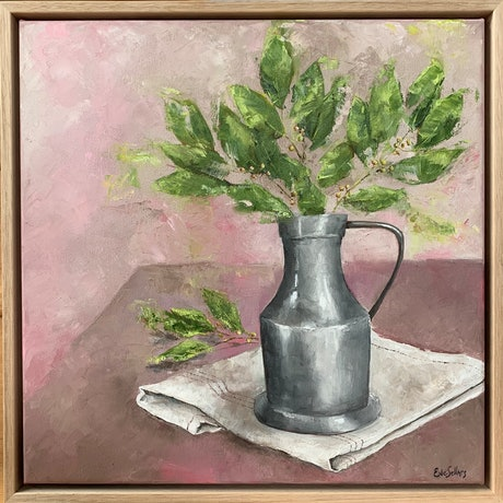 (CreativeWork) Pewter Jug - framed oil painting by Eve Sellars. Oil Paint. Shop online at Bluethumb.