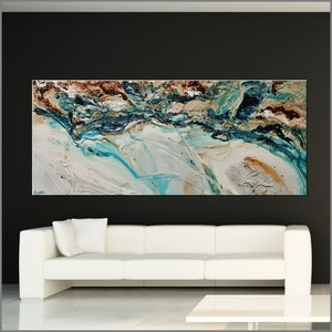 (CreativeWork) Southern Teal 240cm x 120cm White Green Brown Texture Acrylic Gloss Finish Abstract by _Franko _. acrylic-painting. Shop online at Bluethumb.