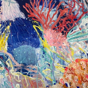 (CreativeWork) Coral Reef: Razzle Dazzle by Alexandra Plim. Acrylic Paint. Shop online at Bluethumb.