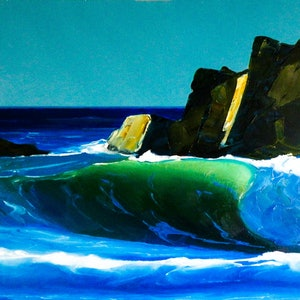 (CreativeWork) Green Wave 15 by Colin Madgwick. oil-painting. Shop online at Bluethumb.