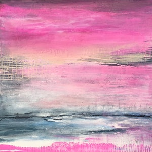 (CreativeWork) Pink Illusion  by helene hardy. acrylic-painting. Shop online at Bluethumb.