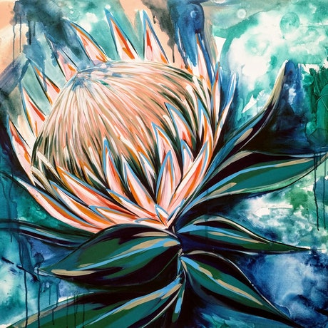 (CreativeWork) Hello Pretty ( Protea )  by Amanda Skye. Acrylic Paint. Shop online at Bluethumb.