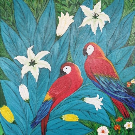 (CreativeWork) For the Love of Macaws by Niki K. Acrylic Paint. Shop online at Bluethumb.