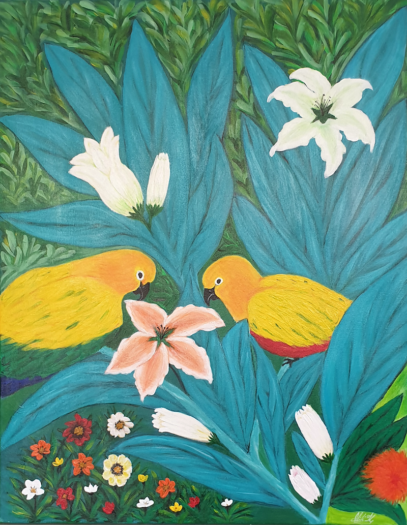 (CreativeWork) Nestled in Blooming Love by Niki K. Acrylic Paint. Shop online at Bluethumb.