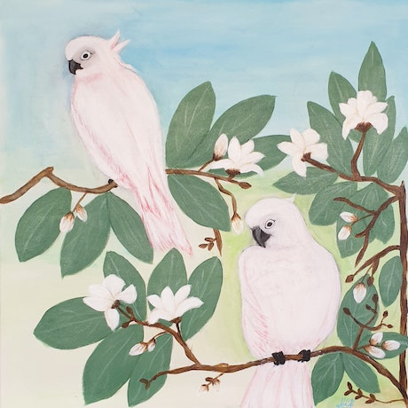 (CreativeWork) Perching Cockatoos by Niki K. Acrylic Paint. Shop online at Bluethumb.