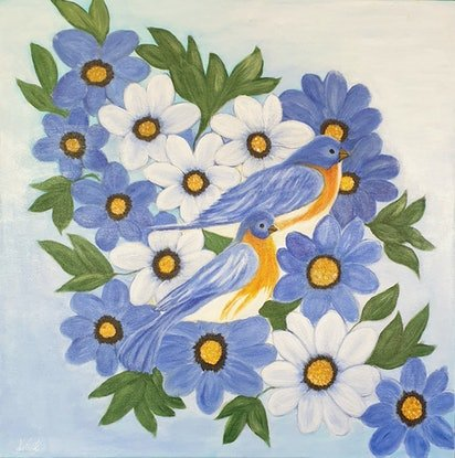 (CreativeWork) Blue Birds Blooming by Niki K. Acrylic Paint. Shop online at Bluethumb.