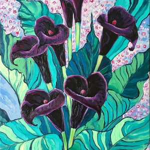(CreativeWork) Calla Lily Black Forest by Irina Redine. Oil Paint. Shop online at Bluethumb.
