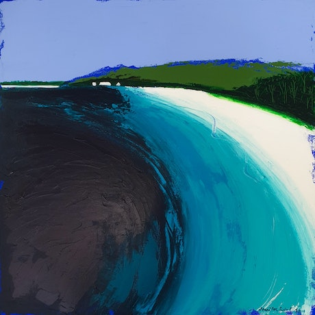 (CreativeWork) Hyams Beach looking South  by Jennifer Baird. Acrylic Paint. Shop online at Bluethumb.