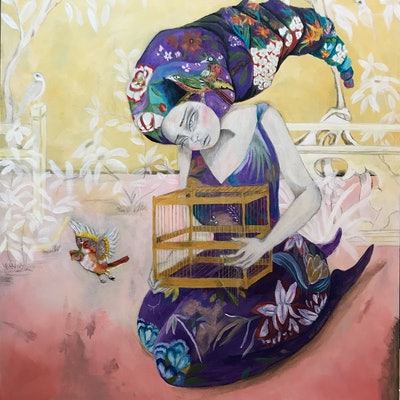 (CreativeWork) Promise you'll come back by Kat Hamilton. acrylic-painting. Shop online at Bluethumb.