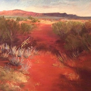 (CreativeWork) Walking the Path, Kings Canyon by Robin Hicks. drawing. Shop online at Bluethumb.