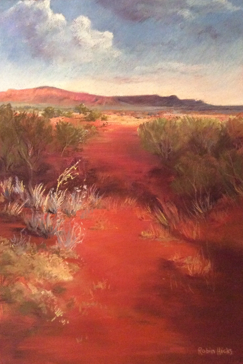 (CreativeWork) Walking the Path, Kings Canyon by Robin Hicks. Drawings. Shop online at Bluethumb.