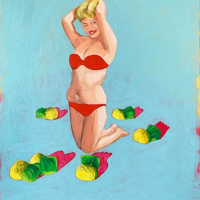 (CreativeWork) Sweetie by Maz Dixon. oil-painting. Shop online at Bluethumb.