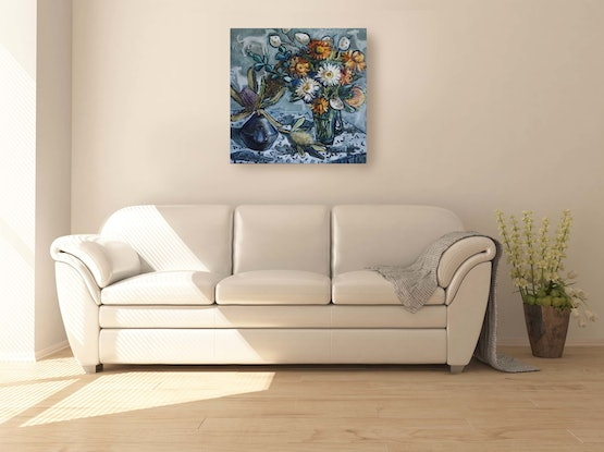(CreativeWork) Still Life with Honesty Flowers and Banksia by Katerina Apale. #<Filter:0x00007f7b71b8bb60>. Shop online at Bluethumb.