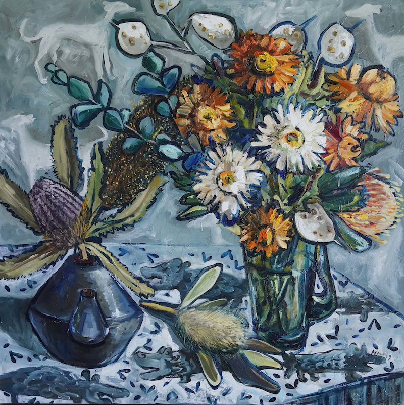 (CreativeWork) Still Life with Honesty Flowers and Banksia by Katerina Apale. Oil Paint. Shop online at Bluethumb.