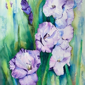 (CreativeWork) Purple Glads by Lorraine Brown. watercolour. Shop online at Bluethumb.