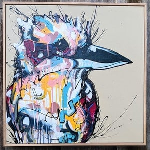 (CreativeWork) Fence Sitter by Aidan Weichard. mixed-media. Shop online at Bluethumb.