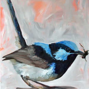 (CreativeWork) Backyard Wren by Rebecca Hill. acrylic-painting. Shop online at Bluethumb.