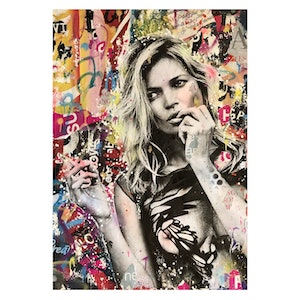 (CreativeWork) Street Icon 179 - Kate Smoking by Cold Ghost. mixed-media. Shop online at Bluethumb.