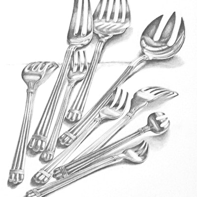 (CreativeWork) Christofle Silver Forks  by Carol Croad. drawing. Shop online at Bluethumb.