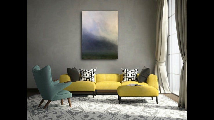 (CreativeWork) Mount Duneed mist by Mike Adlam. Oil Paint. Shop online at Bluethumb.