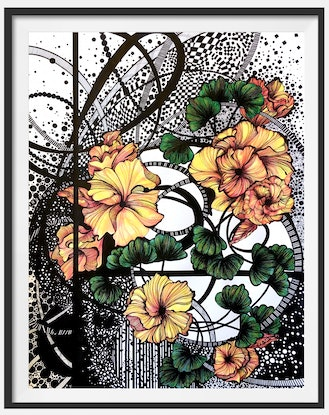 (CreativeWork) Australian Yellow Hibiscus by Tania Daymond. Drawings. Shop online at Bluethumb.